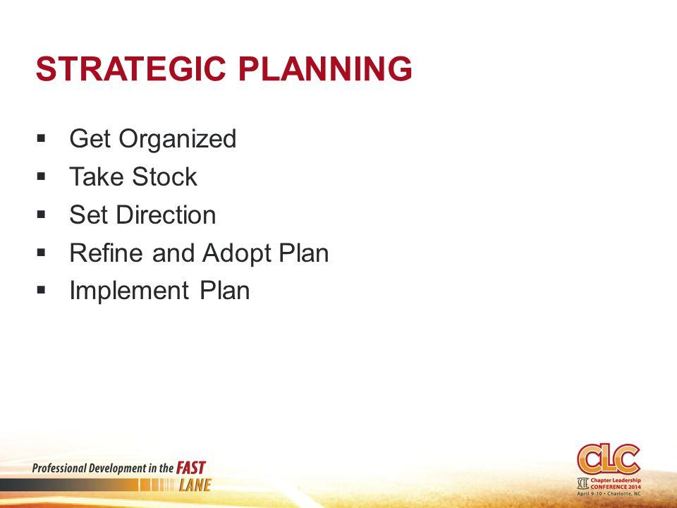 STRATEGIC PLANNING  Get Organized  Take Stock  Set Direction  Refine and Adopt Plan  Implement Plan