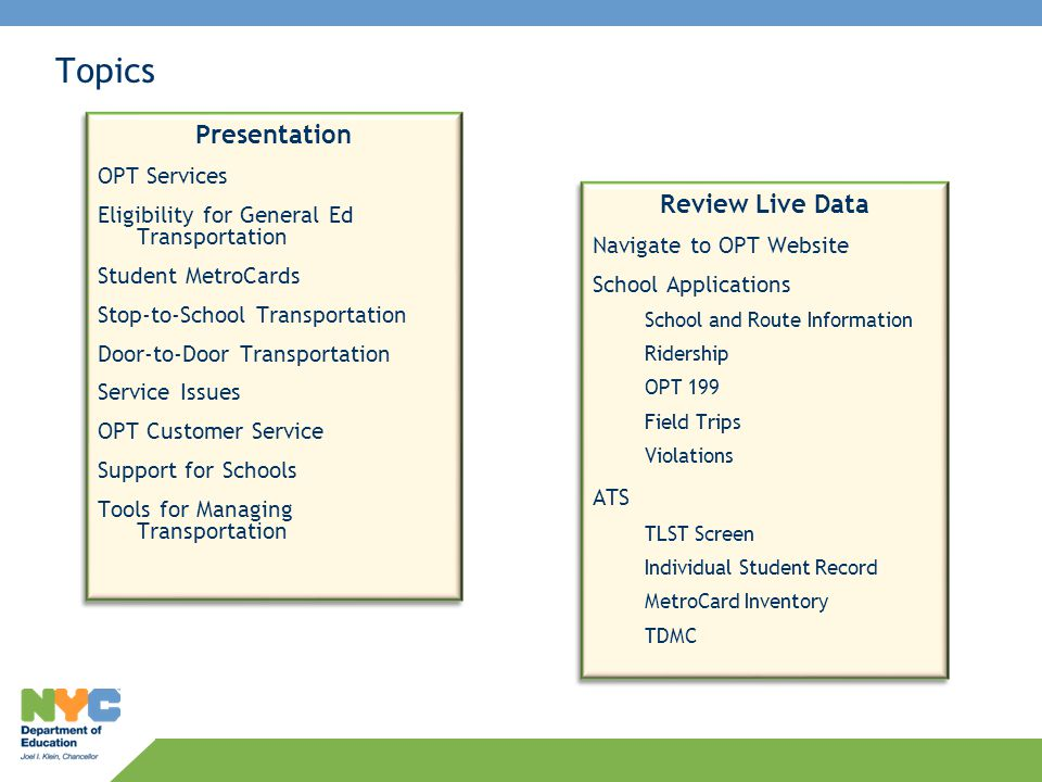 Topics Presentation OPT Services Eligibility for General Ed Transportation Student MetroCards Stop-to-School Transportation Door-to-Door Transportatio