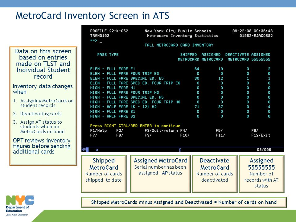 MetroCard Inventory Screen in ATS Data on this screen based on entries made on TLST and Individual Student record Inventory data changes when 1.Assign