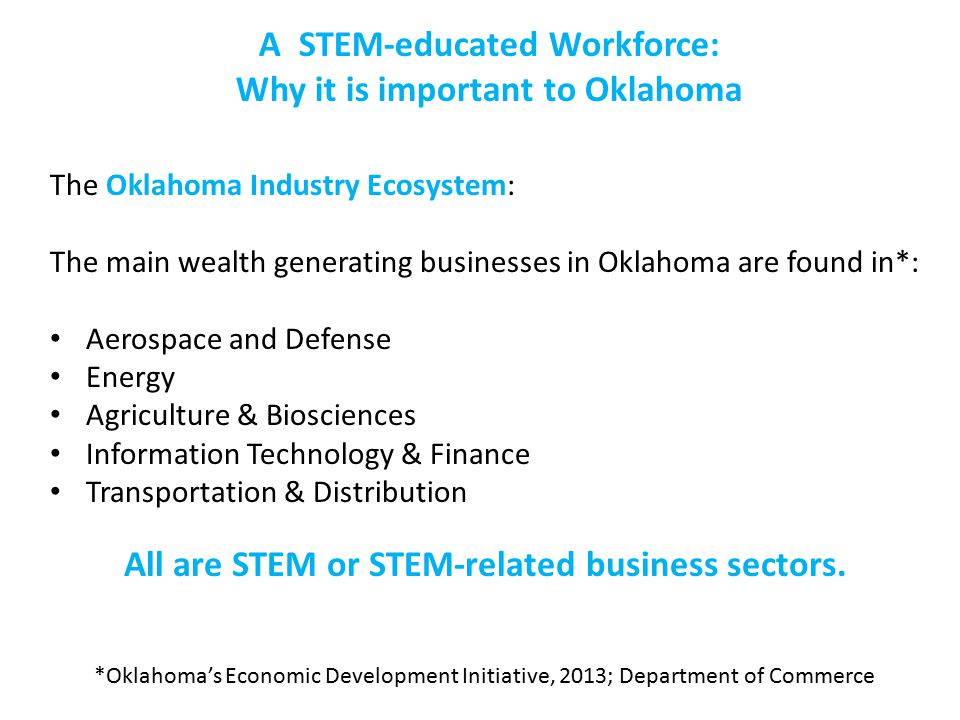 A STEM-educated Workforce: Why it is important to Oklahoma The Oklahoma Industry Ecosystem: The main wealth generating businesses in Oklahoma are found in*: Aerospace and Defense Energy Agriculture & Biosciences Information Technology & Finance Transportation & Distribution *Oklahoma's Economic Development Initiative, 2013; Department of Commerce All are STEM or STEM-related business sectors.