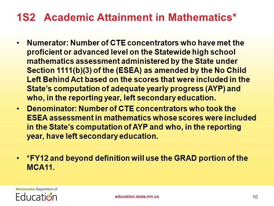 Numerator: Number of CTE concentrators who have met the proficient or advanced level on the Statewide high school mathematics assessment administered by the State under Section 1111(b)(3) of the (ESEA) as amended by the No Child Left Behind Act based on the scores that were included in the State's computation of adequate yearly progress (AYP) and who, in the reporting year, left secondary education.