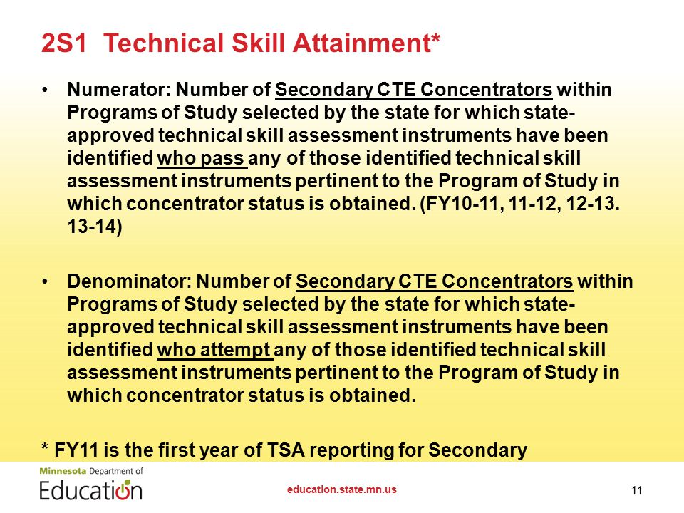 Numerator: Number of Secondary CTE Concentrators within Programs of Study selected by the state for which state- approved technical skill assessment instruments have been identified who pass any of those identified technical skill assessment instruments pertinent to the Program of Study in which concentrator status is obtained.