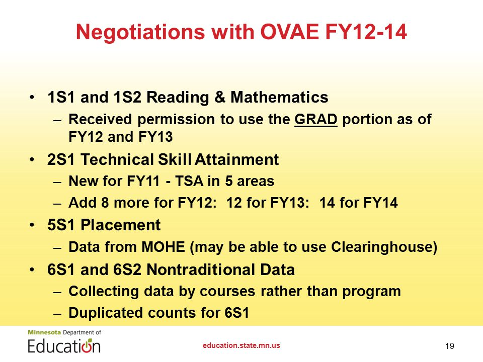 1S1 and 1S2 Reading & Mathematics –Received permission to use the GRAD portion as of FY12 and FY13 2S1 Technical Skill Attainment –New for FY11 - TSA in 5 areas –Add 8 more for FY12: 12 for FY13: 14 for FY14 5S1 Placement –Data from MOHE (may be able to use Clearinghouse) 6S1 and 6S2 Nontraditional Data –Collecting data by courses rather than program –Duplicated counts for 6S1 Negotiations with OVAE FY12-14 education.state.mn.us 19