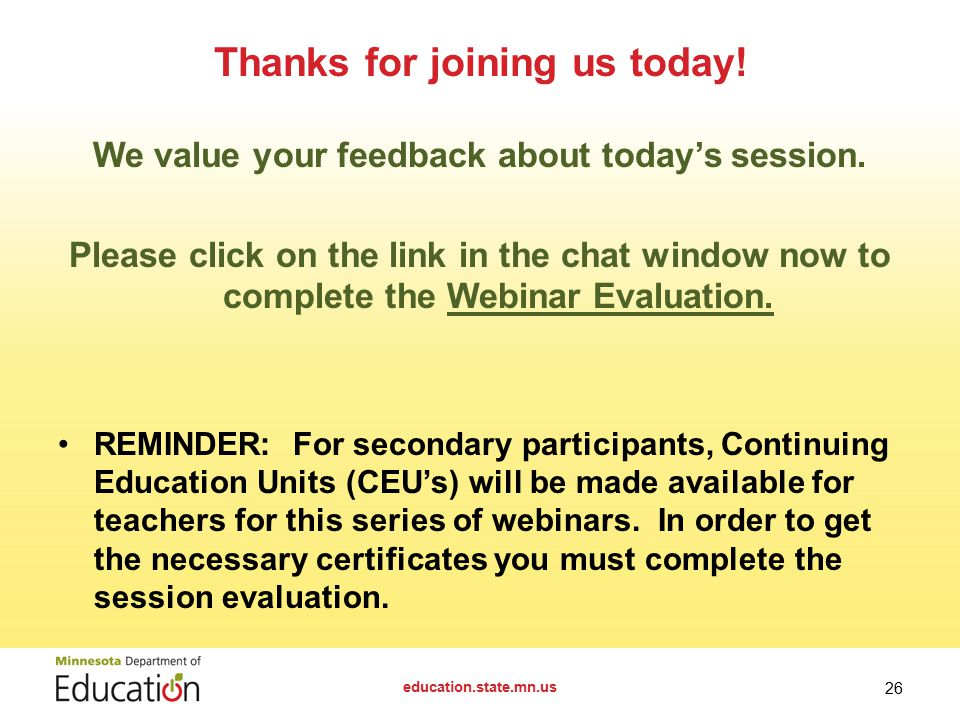 We value your feedback about today's session.