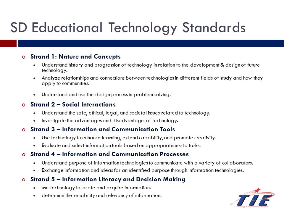 Teaching and Learning Today Creativity and Innovation EdTech Standards NCLB 21st C Skills Millennial Learners Technology Integration 1:1 Computing Web 2.0 Tools Standards (NETS, EdTech)
