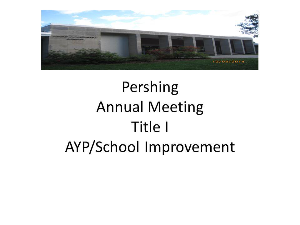 Pershing Pershing Annual Meeting Title I AYP/School Improvement