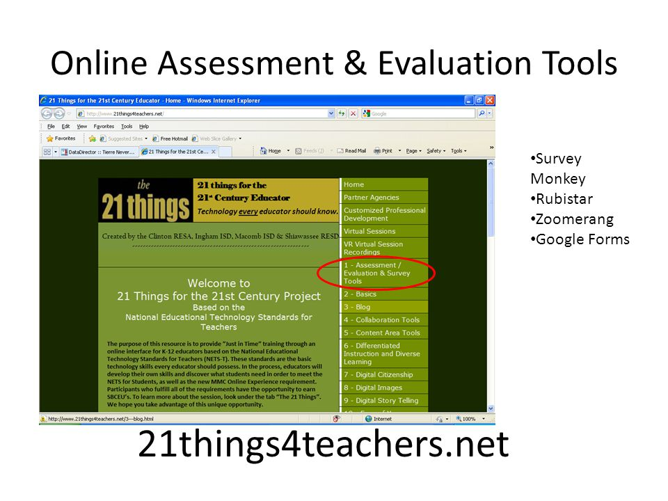 Online Assessment & Evaluation Tools 21things4teachers.net Survey Monkey Rubistar Zoomerang Google Forms