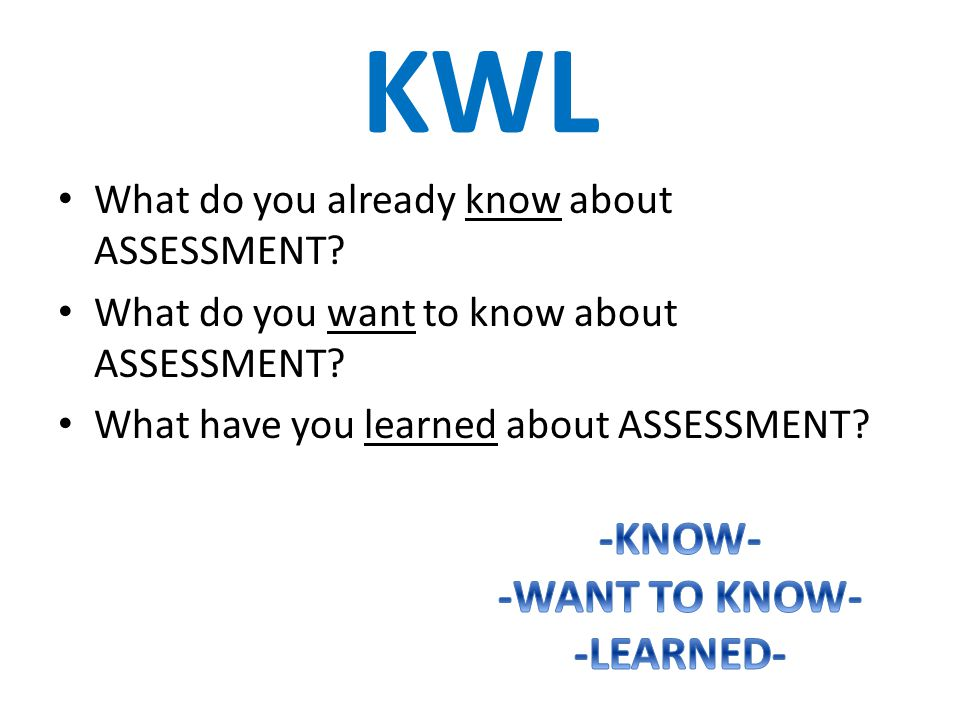 KWL What do you already know about ASSESSMENT. What do you want to know about ASSESSMENT.