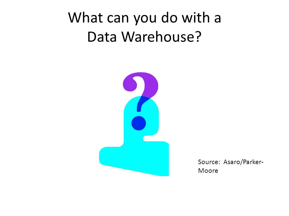 What can you do with a Data Warehouse Source: Asaro/Parker- Moore