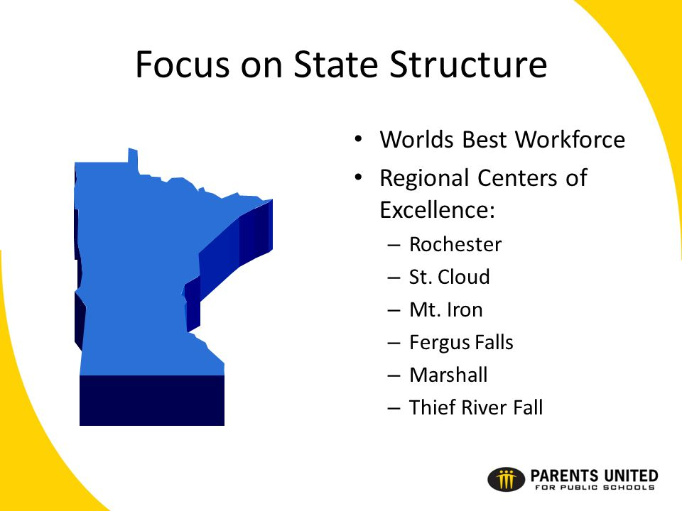 Focus on State Structure Worlds Best Workforce Regional Centers of Excellence: – Rochester – St.