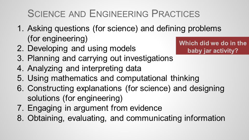 1.Asking questions (for science) and defining problems (for engineering) 2.Developing and using models 3.Planning and carrying out investigations 4.An