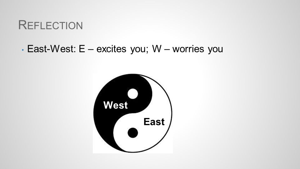 R EFLECTION East-West: E – excites you; W – worries you West East