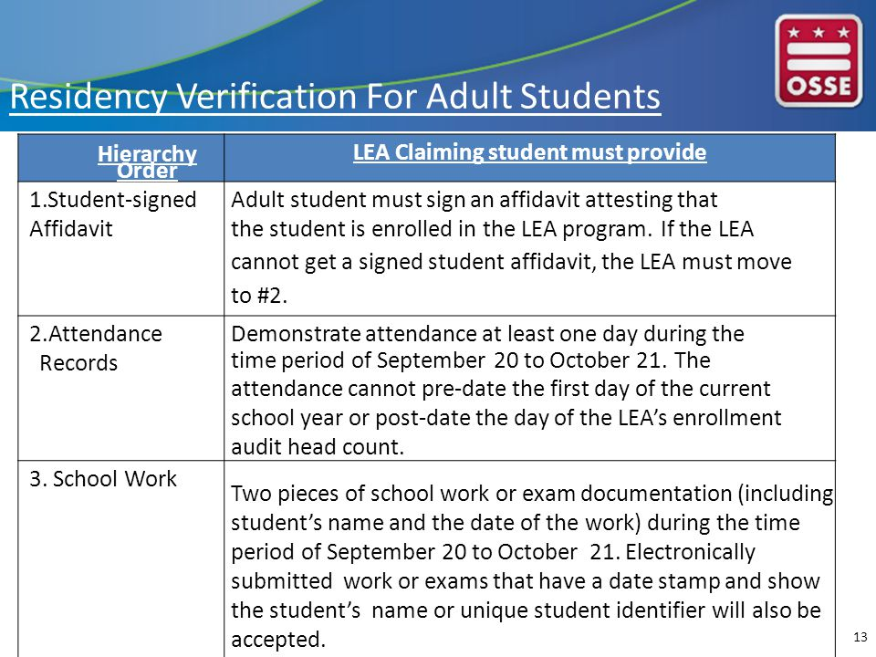 Hierarchy Order LEA Claiming student must provide 1.Student-signed Affidavit Adult student must sign an affidavit attesting that the student is enrolled in the LEA program.