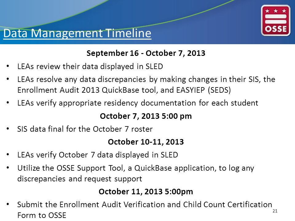Data Management Timeline September 16 - October 7, 2013 LEAs review their data displayed in SLED LEAs resolve any data discrepancies by making changes in their SIS, the Enrollment Audit 2013 QuickBase tool, and EASYIEP (SEDS) LEAs verify appropriate residency documentation for each student October 7, 2013 5:00 pm SIS data final for the October 7 roster October 10-11, 2013 LEAs verify October 7 data displayed in SLED Utilize the OSSE Support Tool, a QuickBase application, to log any discrepancies and request support October 11, 2013 5:00pm Submit the Enrollment Audit Verification and Child Count Certification Form to OSSE 21