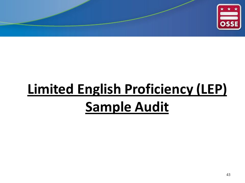 Limited English Proficiency (LEP) Sample Audit 43