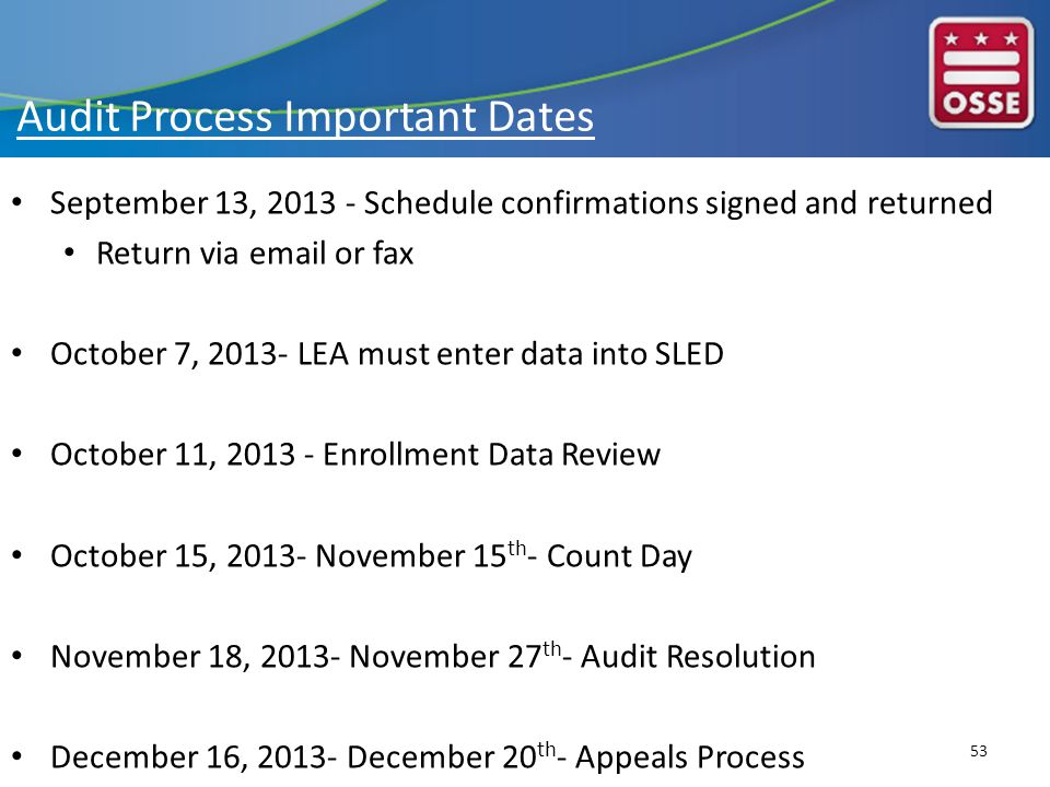 September 13, 2013 - Schedule confirmations signed and returned Return via email or fax October 7, 2013- LEA must enter data into SLED October 11, 2013 - Enrollment Data Review October 15, 2013- November 15 th - Count Day November 18, 2013- November 27 th - Audit Resolution December 16, 2013- December 20 th - Appeals Process 53 Audit Process Important Dates