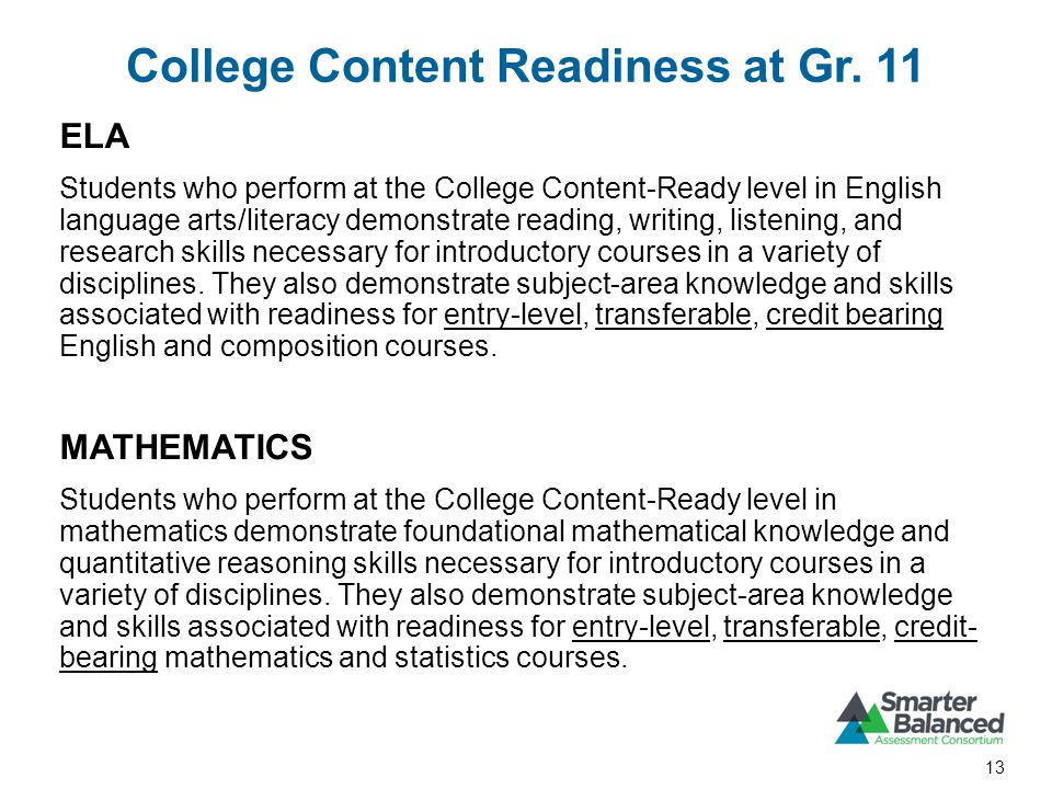 College Content Readiness at Gr.