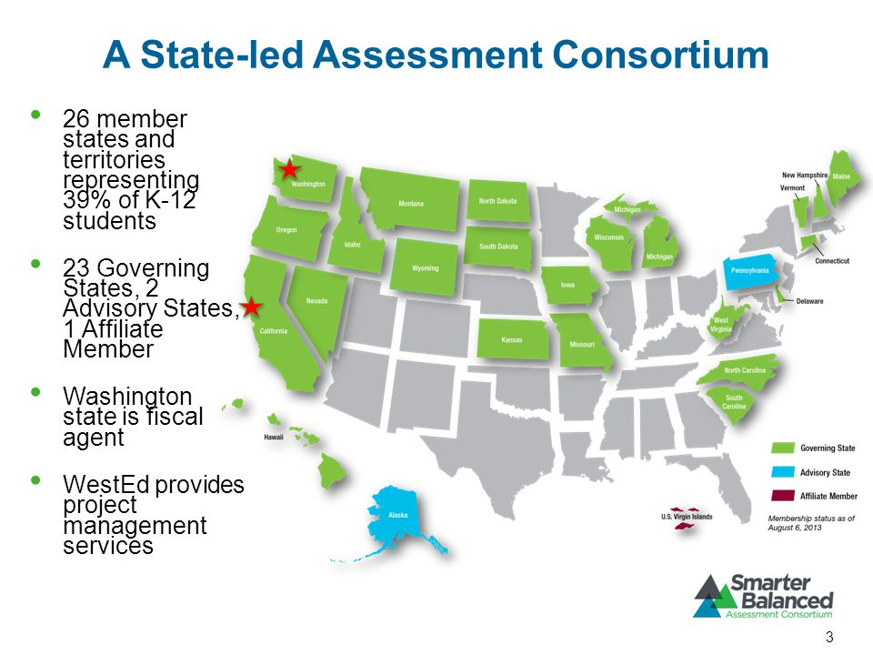 26 member states and territories representing 39% of K-12 students 23 Governing States, 2 Advisory States, 1 Affiliate Member Washington state is fiscal agent WestEd provides project management services A State-led Assessment Consortium 3