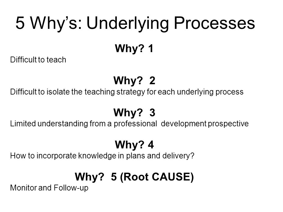 5 Why's: Underlying Processes Why.1 Difficult to teach Why.