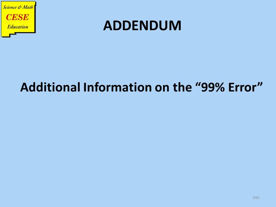 34A ADDENDUM Additional Information on the 99% Error
