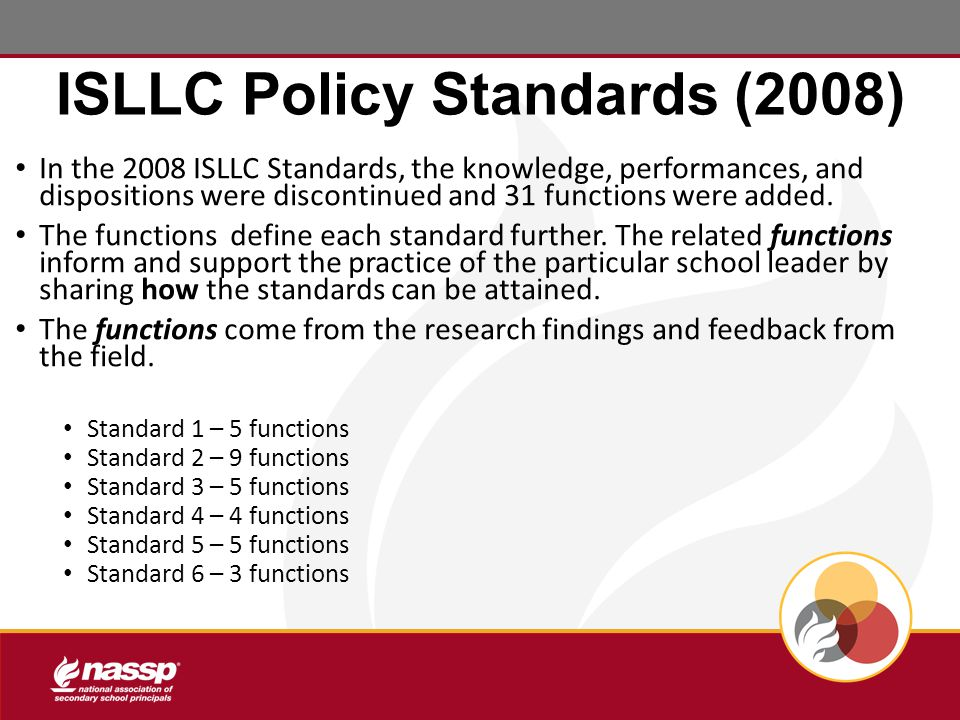 ISLLC Policy Standards (2008) In the 2008 ISLLC Standards, the knowledge, performances, and dispositions were discontinued and 31 functions were added.