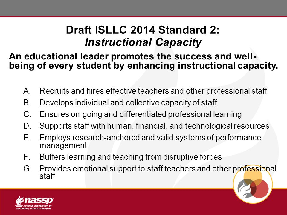 Draft ISLLC 2014 Standard 2: Instructional Capacity An educational leader promotes the success and well- being of every student by enhancing instructional capacity.