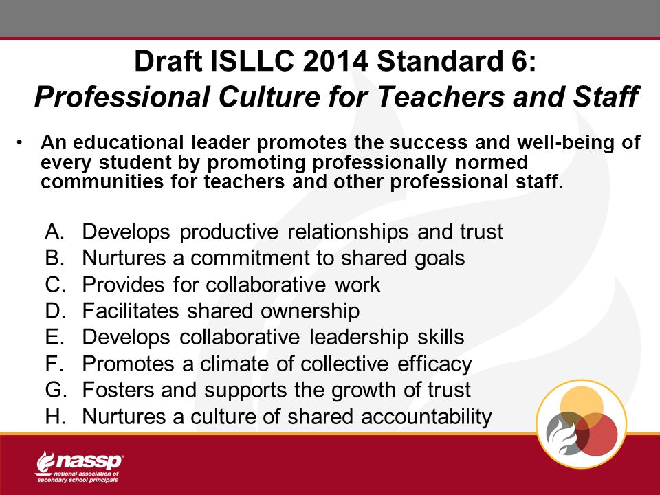 Draft ISLLC 2014 Standard 6: Professional Culture for Teachers and Staff An educational leader promotes the success and well-being of every student by promoting professionally normed communities for teachers and other professional staff.