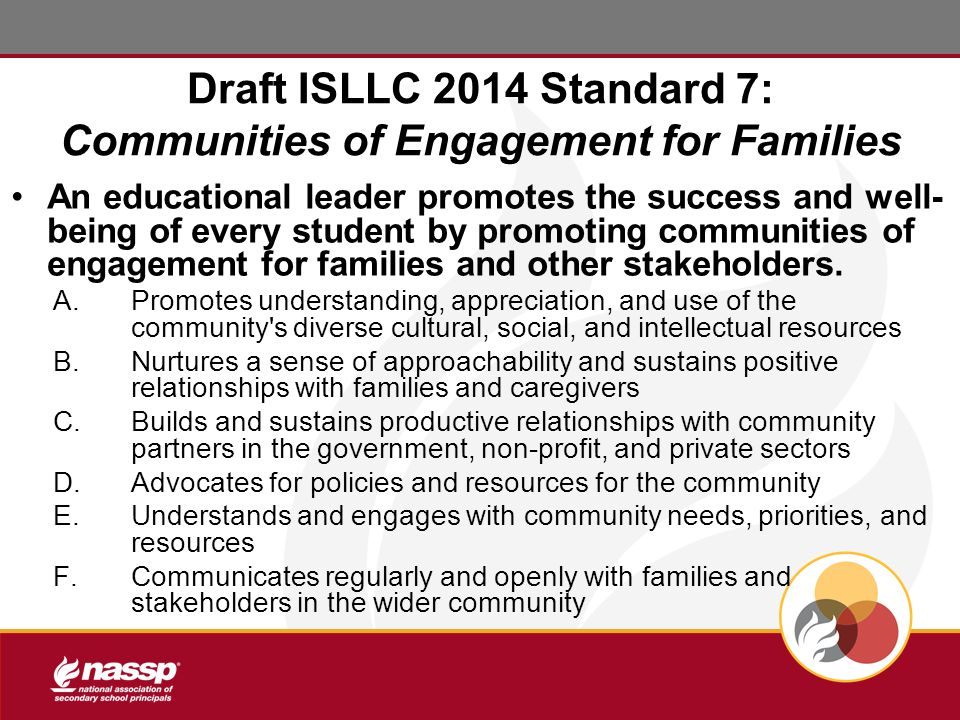 Draft ISLLC 2014 Standard 7: Communities of Engagement for Families An educational leader promotes the success and well- being of every student by promoting communities of engagement for families and other stakeholders.