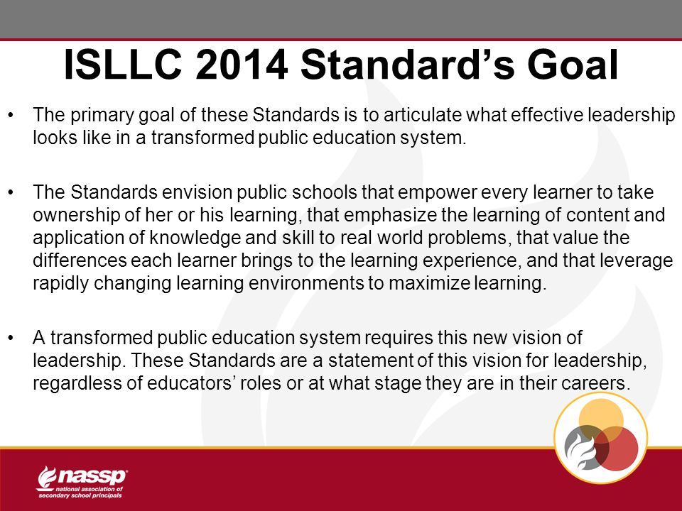 ISLLC 2014 Standard's Goal The primary goal of these Standards is to articulate what effective leadership looks like in a transformed public education system.