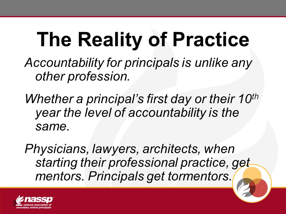 3 The Reality of Practice Accountability for principals is unlike any other profession.