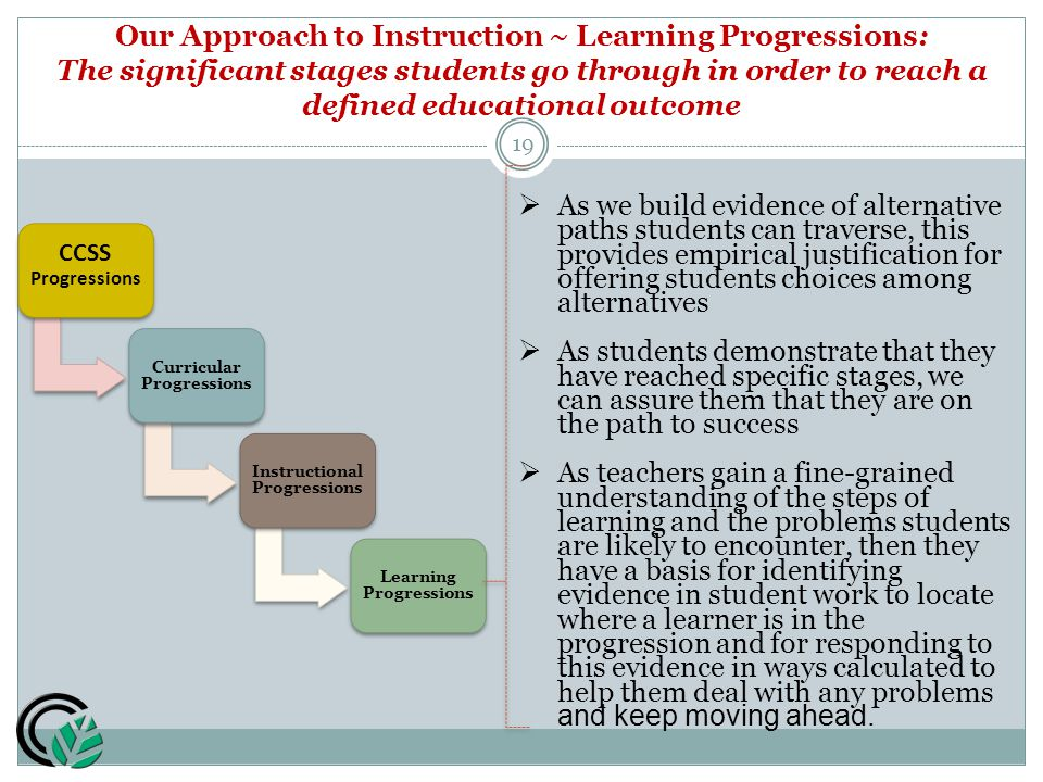 CCSS Progressions Curricular Progressions Instructional Progressions Learning Progressions 19  As we build evidence of alternative paths students can traverse, this provides empirical justification for offering students choices among alternatives  As students demonstrate that they have reached specific stages, we can assure them that they are on the path to success  As teachers gain a fine-grained understanding of the steps of learning and the problems students are likely to encounter, then they have a basis for identifying evidence in student work to locate where a learner is in the progression and for responding to this evidence in ways calculated to help them deal with any problems and keep moving ahead.