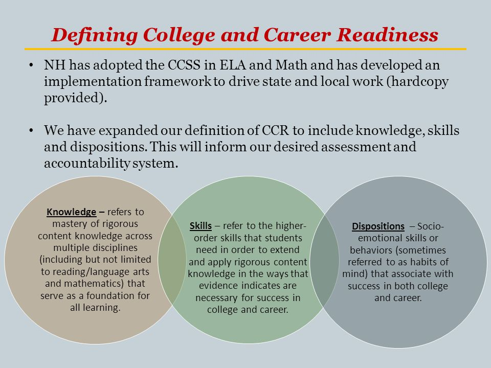 Defining College and Career Readiness Knowledge – refers to mastery of rigorous content knowledge across multiple disciplines (including but not limited to reading/language arts and mathematics) that serve as a foundation for all learning.