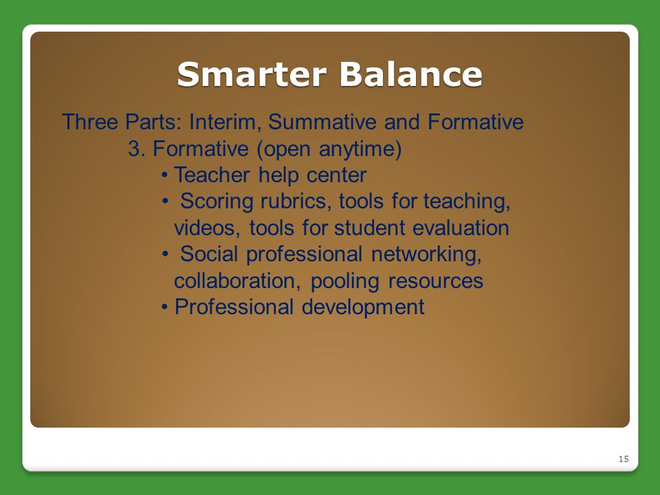 Smarter Balance 15 Three Parts: Interim, Summative and Formative 3.Formative (open anytime) Teacher help center Scoring rubrics, tools for teaching, v