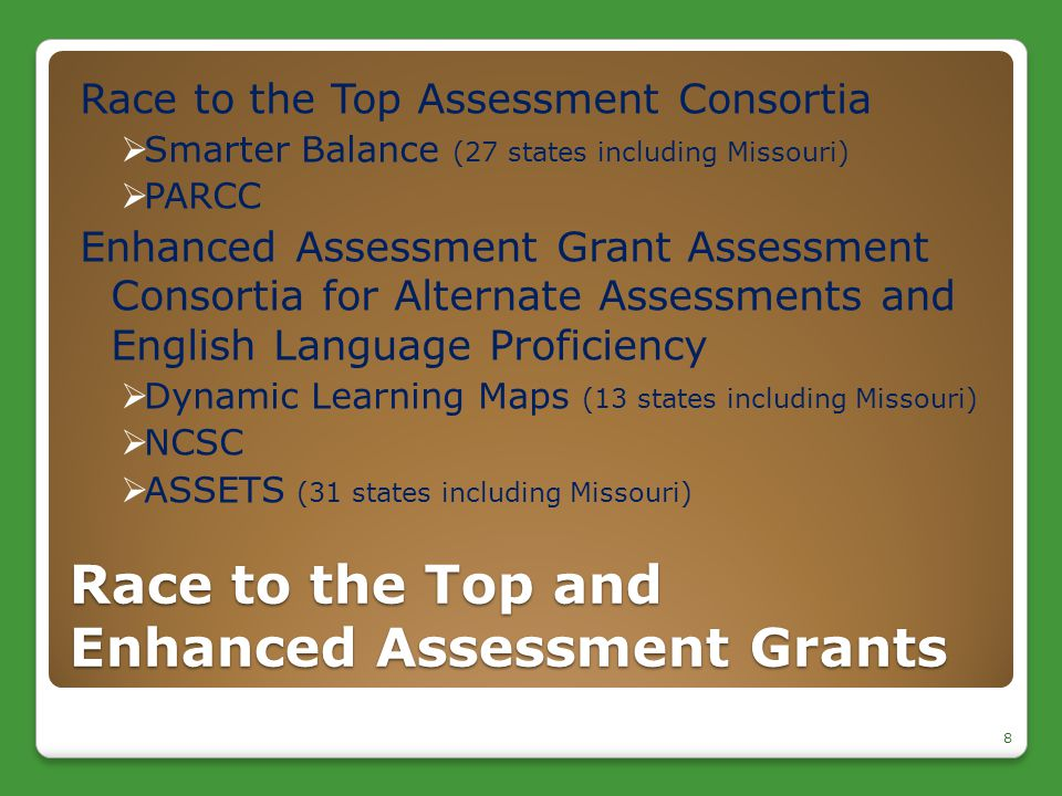 Race to the Top and Enhanced Assessment Grants Race to the Top Assessment Consortia  Smarter Balance (27 states including Missouri)  PARCC Enhanced