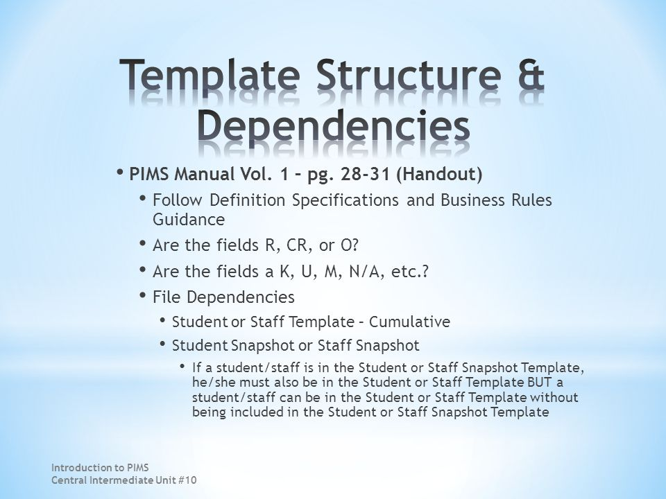 PIMS Manual Vol. 1 – pg. 28-31 (Handout) Follow Definition Specifications and Business Rules Guidance Are the fields R, CR, or O? Are the fields a K,