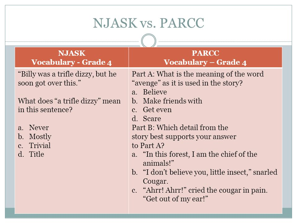"""NJASK vs. PARCC NJASK Vocabulary - Grade 4 PARCC Vocabulary – Grade 4 """"Billy was a trifle dizzy, but he soon got over this."""" What does """"a trifle dizzy"""