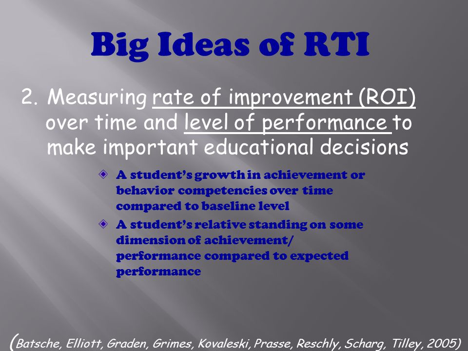 1.Providing high quality instruction and interventions matched to students needs ( Batsche, Elliott, Graden, Grimes, Kovaleski, Prasse, Reschly, Scharg, Tilley, 2005) Big Ideas of RTI Matched to student need Demonstrated through scientific research and practice to produce high learning rates for most students