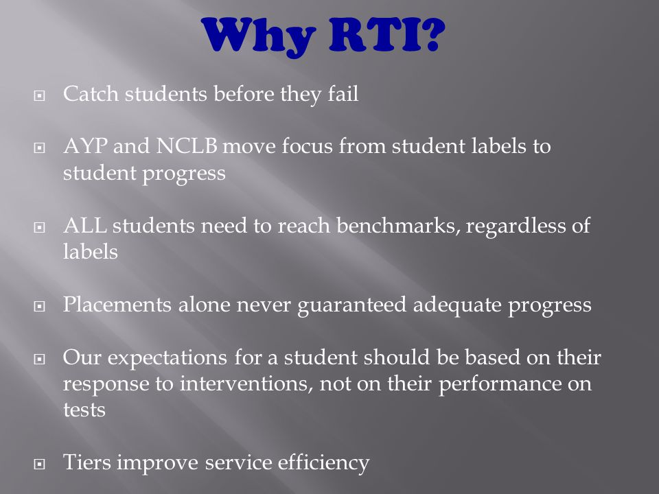 3.Identifying specific and effective research-based interventions for an individual ( Batsche, Elliott, Graden, Grimes, Kovaleski, Prasse, Reschly, Scharg, Tilley, 2005) Big Ideas of RTI Practices/Interventions that have been shown to be effective in improving children's academic skills at a significant level