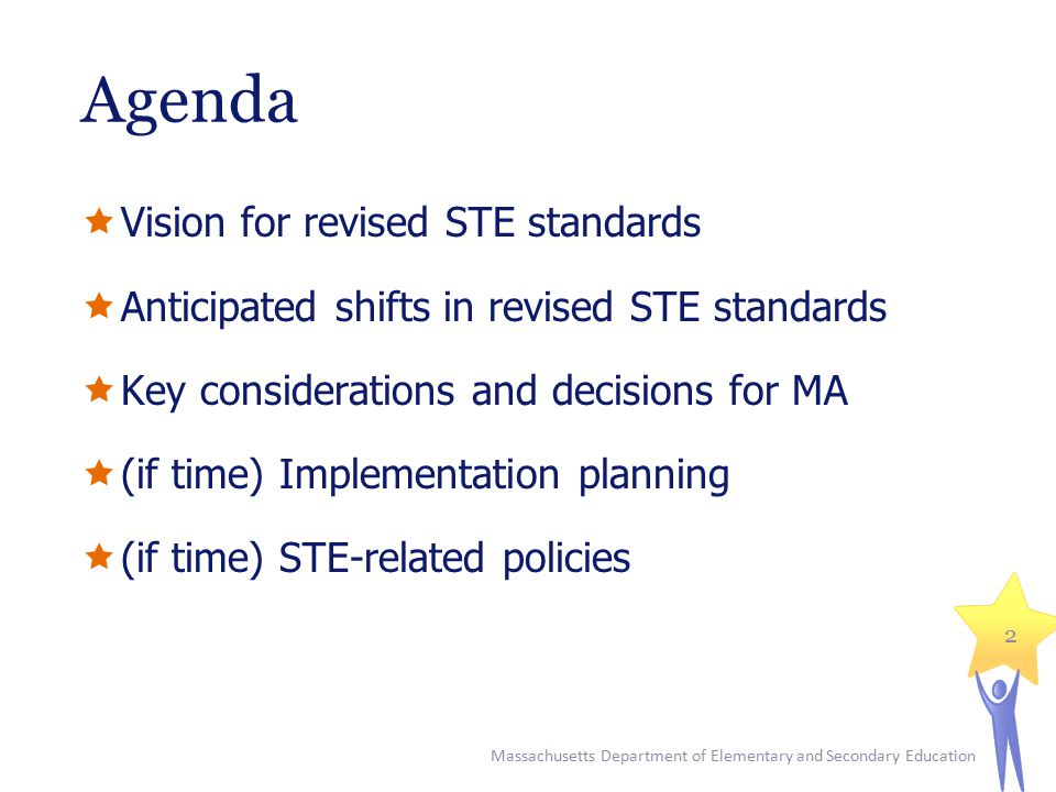 Agenda  Vision for revised STE standards  Anticipated shifts in revised STE standards  Key considerations and decisions for MA  (if time) Implemen