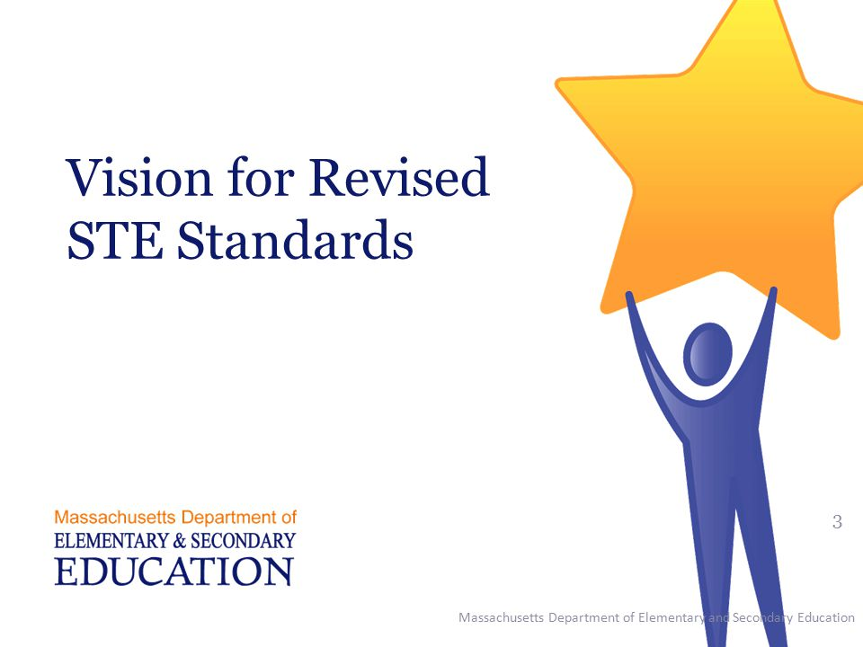 Vision for Revised STE Standards Massachusetts Department of Elementary and Secondary Education 3