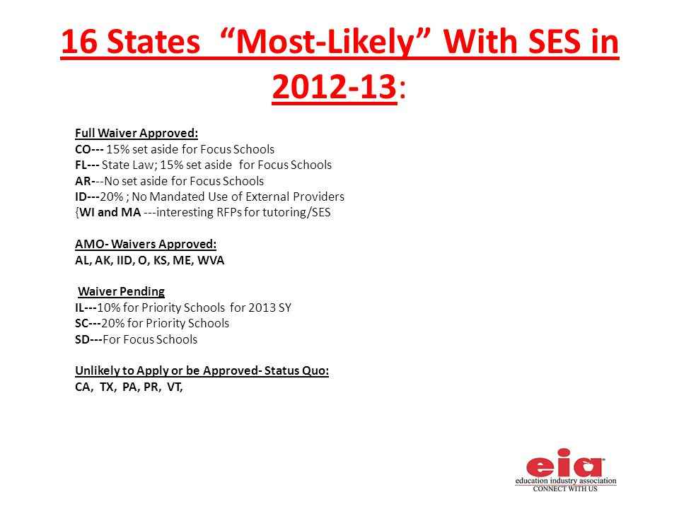16 States Most-Likely With SES in 2012-13: Full Waiver Approved: CO--- 15% set aside for Focus Schools FL--- State Law; 15% set aside for Focus Schools AR---No set aside for Focus Schools ID---20% ; No Mandated Use of External Providers {WI and MA ---interesting RFPs for tutoring/SES AMO- Waivers Approved: AL, AK, IID, O, KS, ME, WVA Waiver Pending IL---10% for Priority Schools for 2013 SY SC---20% for Priority Schools SD---For Focus Schools Unlikely to Apply or be Approved- Status Quo: CA, TX, PA, PR, VT,