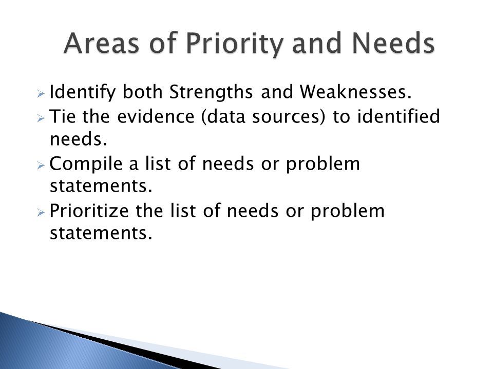  Identify both Strengths and Weaknesses.  Tie the evidence (data sources) to identified needs.