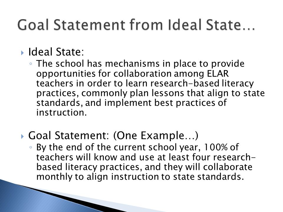  Ideal State: ◦ The school has mechanisms in place to provide opportunities for collaboration among ELAR teachers in order to learn research-based literacy practices, commonly plan lessons that align to state standards, and implement best practices of instruction.