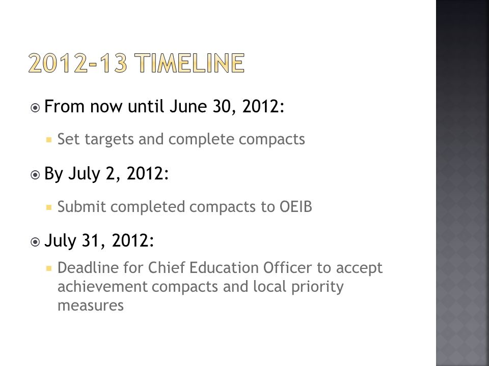  From now until June 30, 2012:  Set targets and complete compacts  By July 2, 2012:  Submit completed compacts to OEIB  July 31, 2012:  Deadline for Chief Education Officer to accept achievement compacts and local priority measures