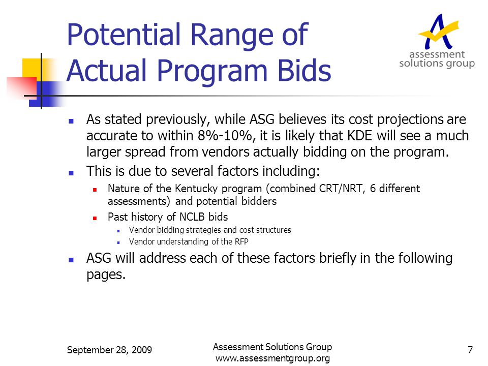 Year 0 Costs by Function Costs of activities related to Year 0 by functional area – includes estimates with 50% and 30% margin September 28, 2009 Assessment Solutions Group www.assessmentgroup.org 28