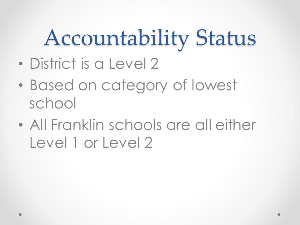 Accountability Status District is a Level 2 Based on category of lowest school All Franklin schools are all either Level 1 or Level 2