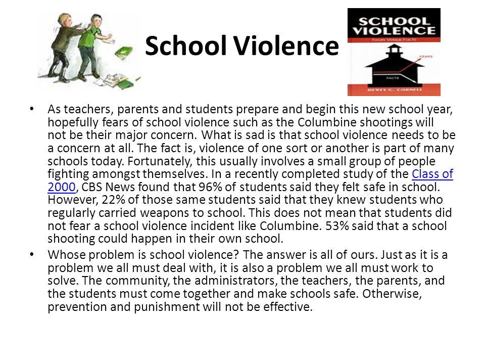 School Violence As teachers, parents and students prepare and begin this new school year, hopefully fears of school violence such as the Columbine shootings will not be their major concern.
