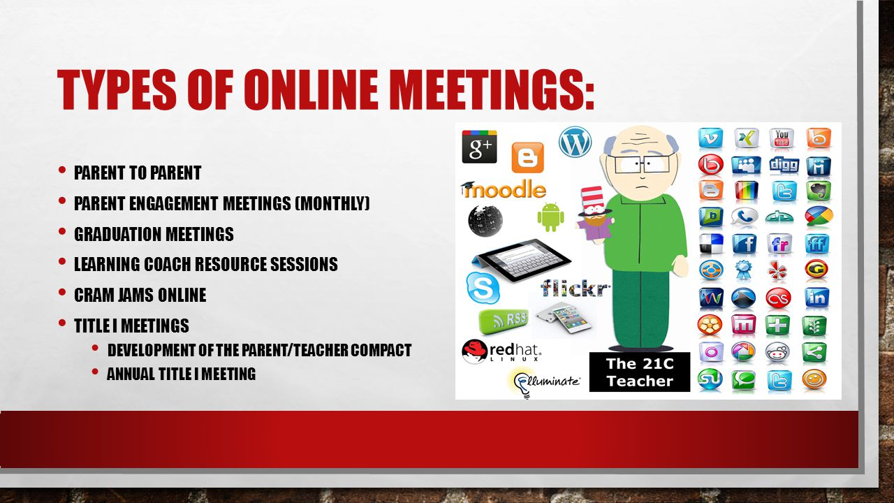 TYPES OF ONLINE MEETINGS: PARENT TO PARENT PARENT ENGAGEMENT MEETINGS (MONTHLY) GRADUATION MEETINGS LEARNING COACH RESOURCE SESSIONS CRAM JAMS ONLINE