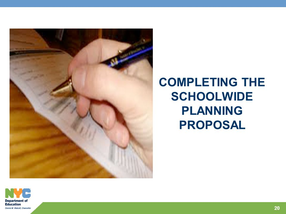 COMPLETING THE SCHOOLWIDE PLANNING PROPOSAL 20