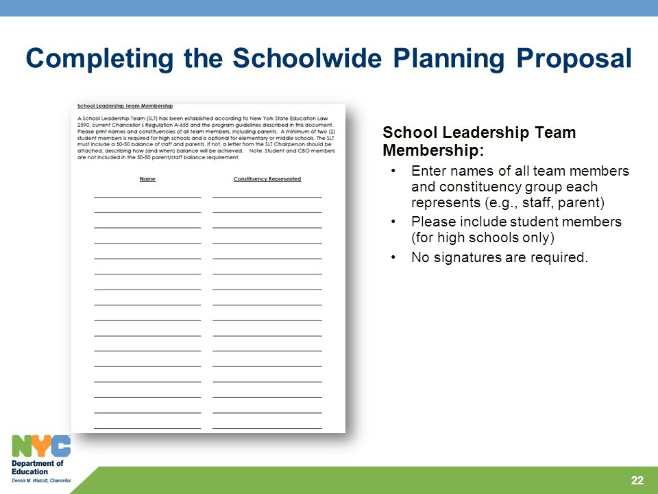 22 School Leadership Team Membership: Enter names of all team members and constituency group each represents (e.g., staff, parent) Please include stud